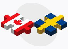 Canada and Sweden Flags Stock Illustration