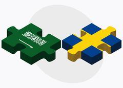 Saudi Arabia and Sweden Flags Stock Illustration