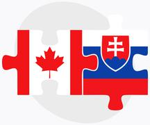 Stock Illustration of Canada and Slovakia Flags