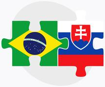 Brazil and Slovakia Flags in puzzle - stock illustration