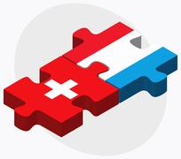 Switzerland and Luxembourg Flags Stock Illustration