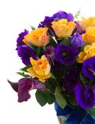 Calla lilly and eustoma flowers - stock photo