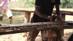 Children doing carpentry work exploitation human rights - stock footage