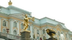 Grand Cascade statue of Perseus with Medusa's head in Peterhof Russia Stock Footage