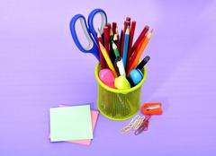 Colorful School Supplies Stationery in Basket Stock Photos