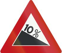 Netherlands road sign J7 - Steep hill downward - stock illustration