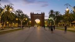 Arch of Triumph in Barcelona Stock Footage