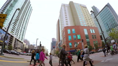 Driving through downtown Denver in Autum - stock footage