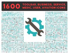 Stock Illustration of Service Icon with Large Pictogram Collection