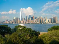 The skyline of downtown Manhattan seen from Ellis Island Stock Photos