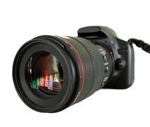 black digital camera isolated on white background - stock photo