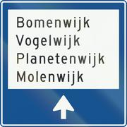 Stock Illustration of Netherlands road sign K12 - Local signpost within a built-up area showing nam
