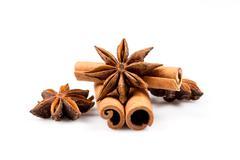 Stars anise and Cinnamon Stock Photos