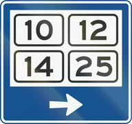 Dutch signpost within a built-up area showing district numbers Stock Illustration