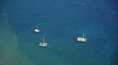 Catamarans at the ocean from above Stock Footage