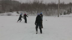 Ultimate frisbee game played in snowstorm and blizzard conditions Stock Footage
