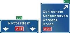 Stock Illustration of Netherlands road sign K4: High level motorway information sign showing lane i