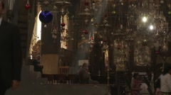 Bethlehem Church of the Nativity, altar, light and thuribles or censers Stock Footage