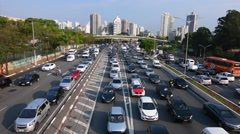 Rush hour traffic in Brazil Stock Footage