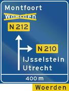 Dutch information sign - Diversion with alternative route shown - stock illustration