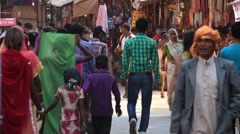 Indian people visit the holy city. Pushkar , India Stock Footage