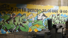 Graffiti 'Rest in Peace' Stock Footage