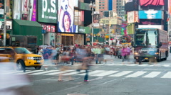 4K Times Square Pedestrians Crossing Intersection Timelapse Stock Footage