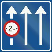 Netherlands road sign L11 - Information on panel applies only to the lane ind Stock Illustration
