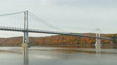4K Mid-Hudson Bridge in Autumn Long Shot Stock Footage