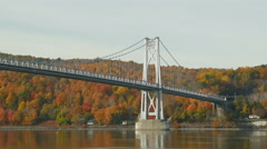 4K Mid-Hudson Bridge in Autumn Medium Shot Stock Footage