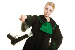 Woman lawyer with gun bag marked evidence for crime. Stock Photos