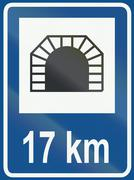 Dutch traffic sign - Tunnel with distance Piirros