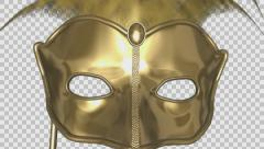 Romantic Mask - IV - 01 - Golden - Flying - Alpha - 25fps Stock Footage