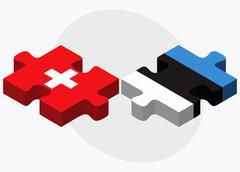 Switzerland and Estonia Flags - stock illustration