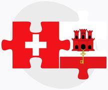 Switzerland and Gibraltar Flags - stock illustration