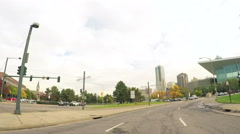 Driving through downtown Denver in Autum Stock Footage