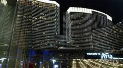 Steadicam Las Vegas hotel Arias. Night. Stock Footage