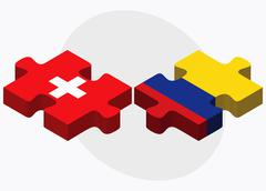 Switzerland and Colombia Flags - stock illustration