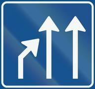 Netherlands road sign L5 - End of lane Stock Illustration