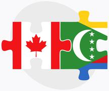 Canada and Comoros Flags Stock Illustration