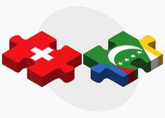 Switzerland and Comoros Flags Stock Illustration