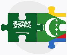 Saudi Arabia and Comoros Flags Stock Illustration