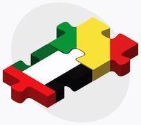 United Arab Emirates and Congo Flags Stock Illustration