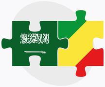 Saudi Arabia and Congo Flags - stock illustration