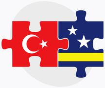 Stock Illustration of Turkey and Curacao Flags