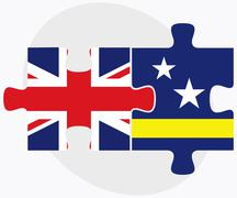 Stock Illustration of United Kingdom and Curacao Flags