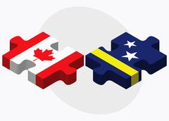 Canada and Curacao Flags Stock Illustration