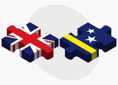United Kingdom and Curacao Flags - stock illustration