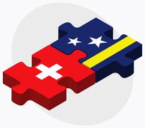 Stock Illustration of Switzerland and Curacao Flags