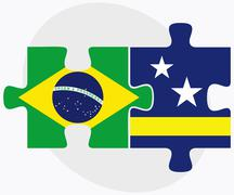 Brazil and Curacao Flags - stock illustration